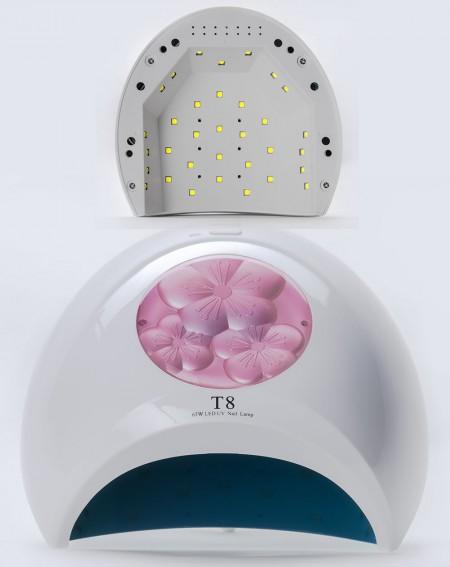 Хибридна Лампа за маникюр T8 модел 2021 година мощнност 65 вата свелина в диапазона УВ/ЛЕД